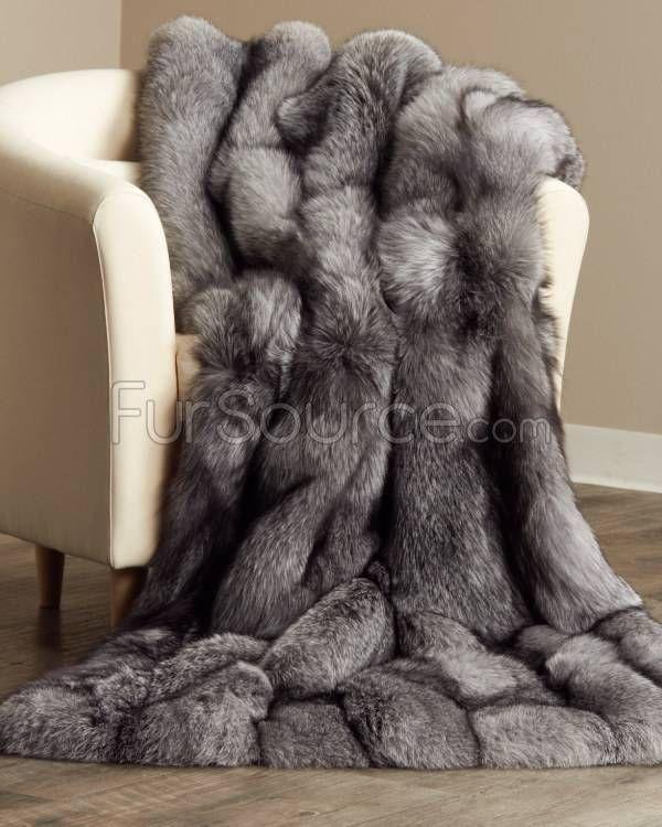 Full Pelt Silver Indigo Fox Fur Blanket / Fur Throw