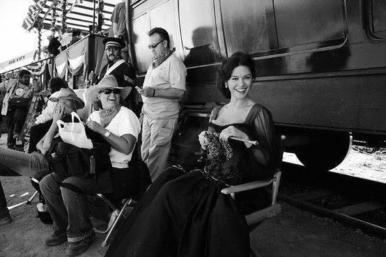 Catherine Zeta Jones knitting on set