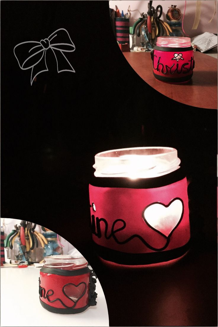Candle holder for my friend Christine ❤️ fimo jar