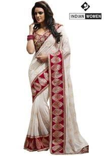 #New Arrivals!!! #Designer Sarees!!  #Off white Georgette Saree designed with Resham Embroidery. As shown Beige Raw Silk Blouse fabric is available   INR 2756.00 Only  Shop@ http://goo.gl/4aVnkv