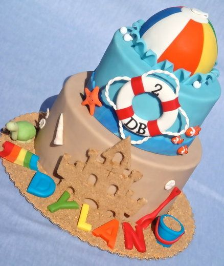 Beach Ball Party - by RoyalBakery @ CakesDecor.com - cake decorating website | link to fondant beach ball and textured sandcastle tutorial