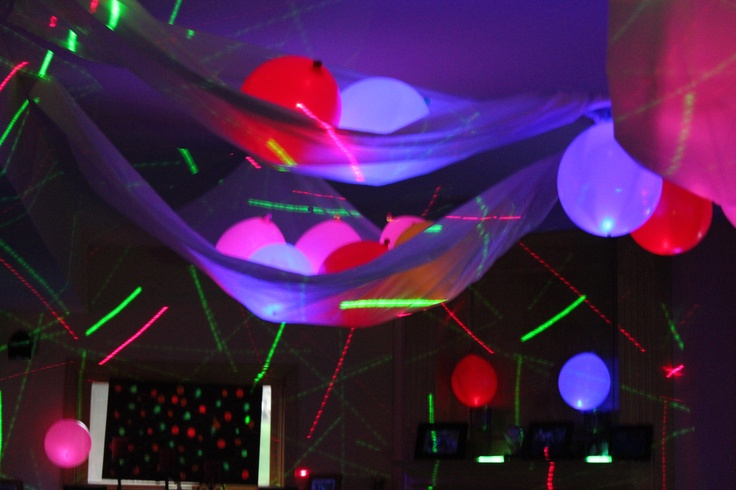 plastic tablecloths for this canopy. Put light up balloons inside each drape. Lights in the background are from a laser machine bought at Guitar Center. & 57 best Glow in the Dark fun ideas images on Pinterest | Neon party ...