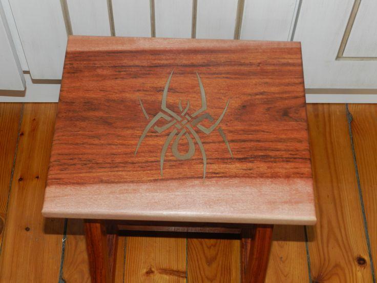 Celtic knot spider step stool. A wedding gift for my diminutive arachnophobic friend. Made from Zambezi Teak.