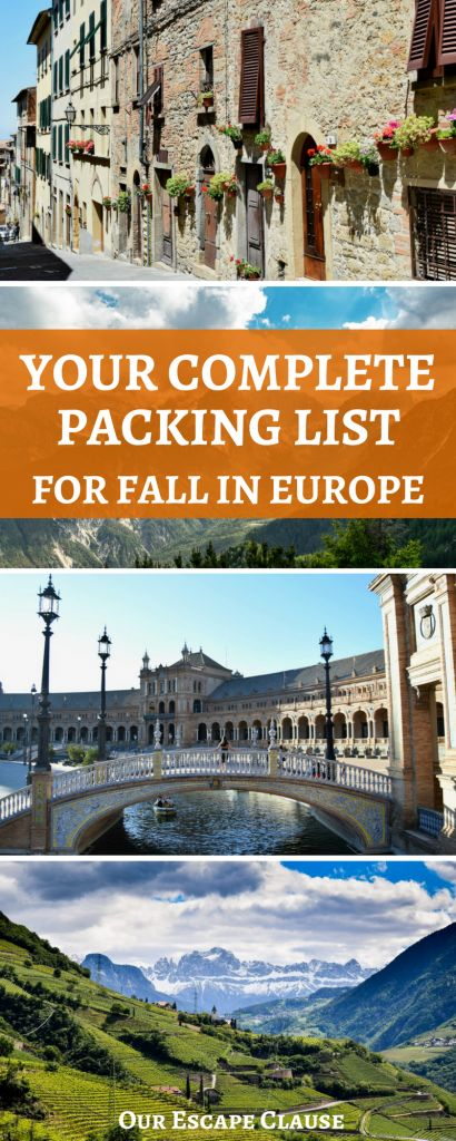 Your complete packing list for Europe in the fall: includes a male packing list, a female packing list, travel gear, camera gear, and more!