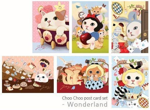 Jetoy choo choo cats postcards set of 6 pcs Wonderland