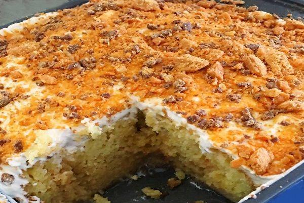 Butterfinger Ecstasy Cake :http://recipescool.com/butterfinger-ecstasy-cake-2/