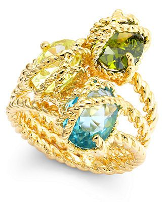 City by City Gold-Tone Three Stone-Wrapped Twisted Ring