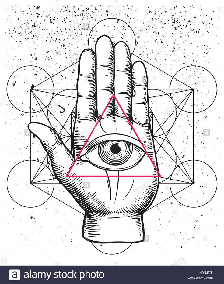 Hipster illustration with sacred geometry, hand, and all seeing eye symbol nside triangle pyramid. Eye of Providence. Masonic symbol. Grunge Esoteric Stock Vector