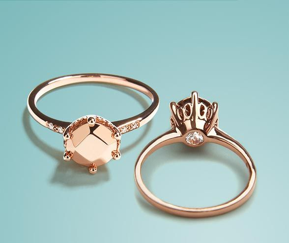 """This rose gold engagement ring has a solid metal """"gemstone"""" in place of a diamond, from Anna Sheffield."""