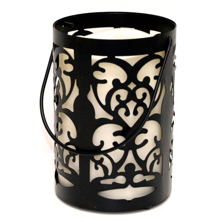 7 Black Metal Flourish Lantern with Bisque LED Lighted Flameless Indoor/Outdoor Pillar Candle