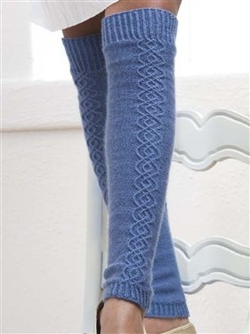 Traveling Stitch Legwarmers free pattern download from Knitting Daily