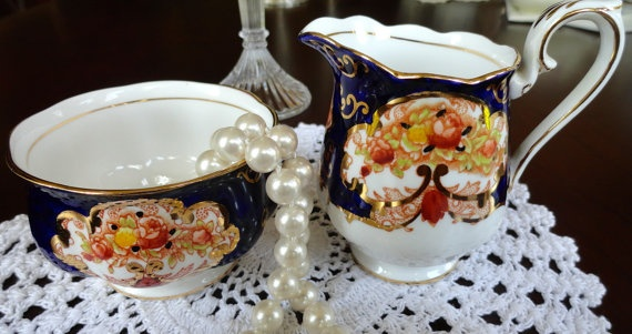 Royal Albert Cream and Sugar Dish Set Heirloom by SucresDaintyDish, $60.99