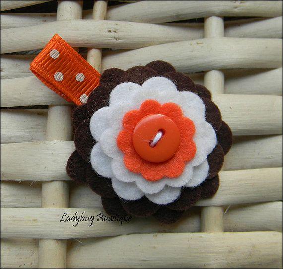 Wool Felt Flower Hair Clip Brown and Orange by LadybugBowtique, $3.49
