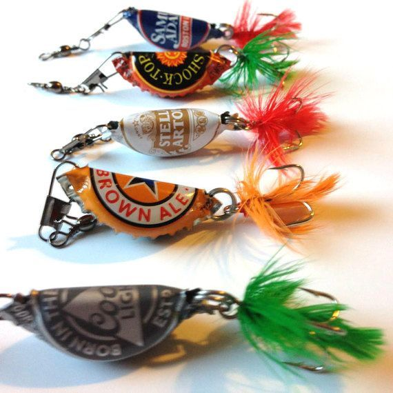 Hey, I found this really awesome Etsy listing at https://www.etsy.com/listing/252535065/beer-bottle-cap-fishing-lures-gifts-for