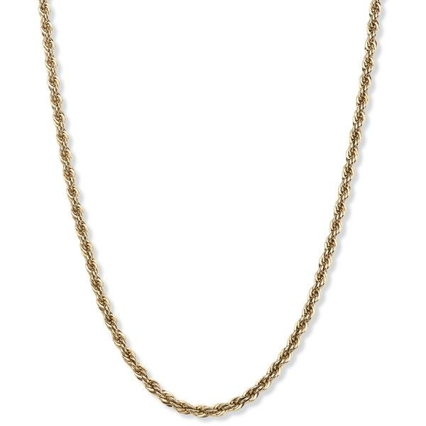 Palm Beach Jewelry PalmBeach Men's Rope Chain Necklace in 18k Gold... ($116) ❤ liked on Polyvore featuring men's fashion, men's jewelry, men's necklaces, yellow, mens gold chain, mens gold rope chain, mens gold rope chain necklace, mens sterling silver chains and mens beach necklaces