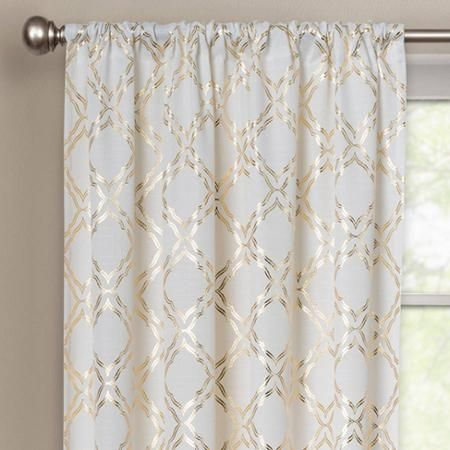 Better Homes And Gardens Metallic Trellis Gold Foil Curtain Panel Bathroom