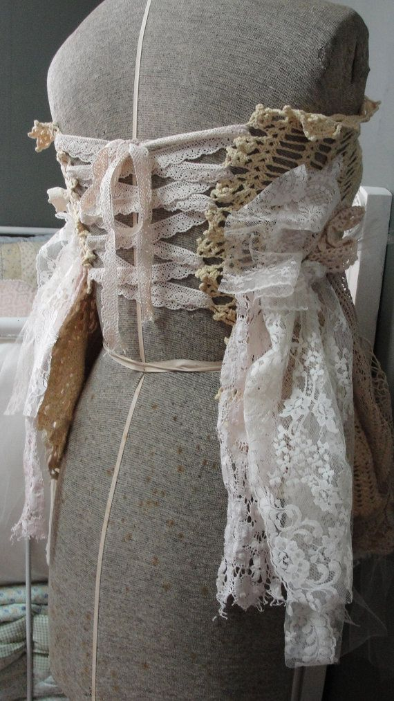 Gypsy boho altered couture corset lace vintage by SummersBreeze, $49.99