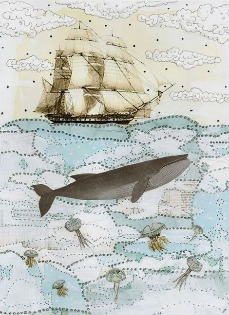 Whale Illustration , Whale Painting , Mixed Media Collage Painting , Whimsical Art Print , 5x7. $15.00, via Etsy.