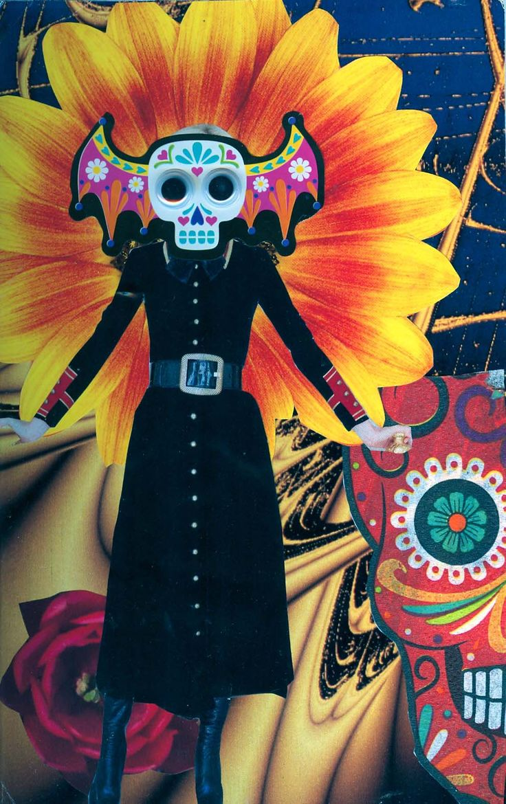 SoulCollage - Catrina. Community suit. I am one who has embraced the custom of the Day of the Dead the past several years. My living room altar honoring my beloved departeds is on display for October.