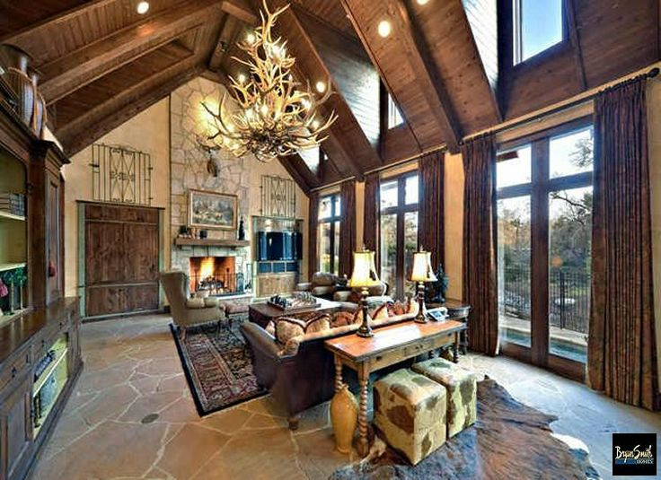 The Great Room In A Texas Hill Country Style Home We
