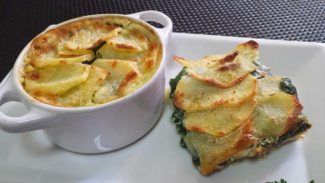 Gratén de patatas y espinacas - COCINA FÁCIL - La cocina de Pedro y Yolanda