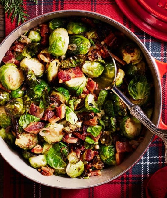 Roasted Brussels Sprouts with Pine Nuts and Bacon