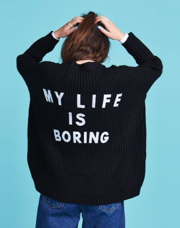 Lazy Oaf Black Boring Cardigan