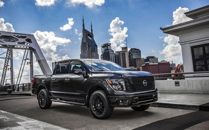 Descargar fondos de pantalla Nissan TITAN de la Medianoche Edición de 2018 autos, SUVs, camionetas, negro titan, Nissan