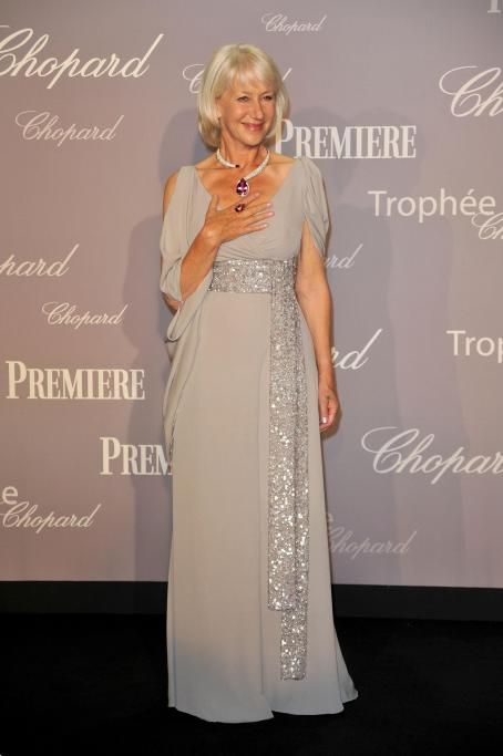 Helen Mirren in gorgeous dove gray dress with beaded sash ...