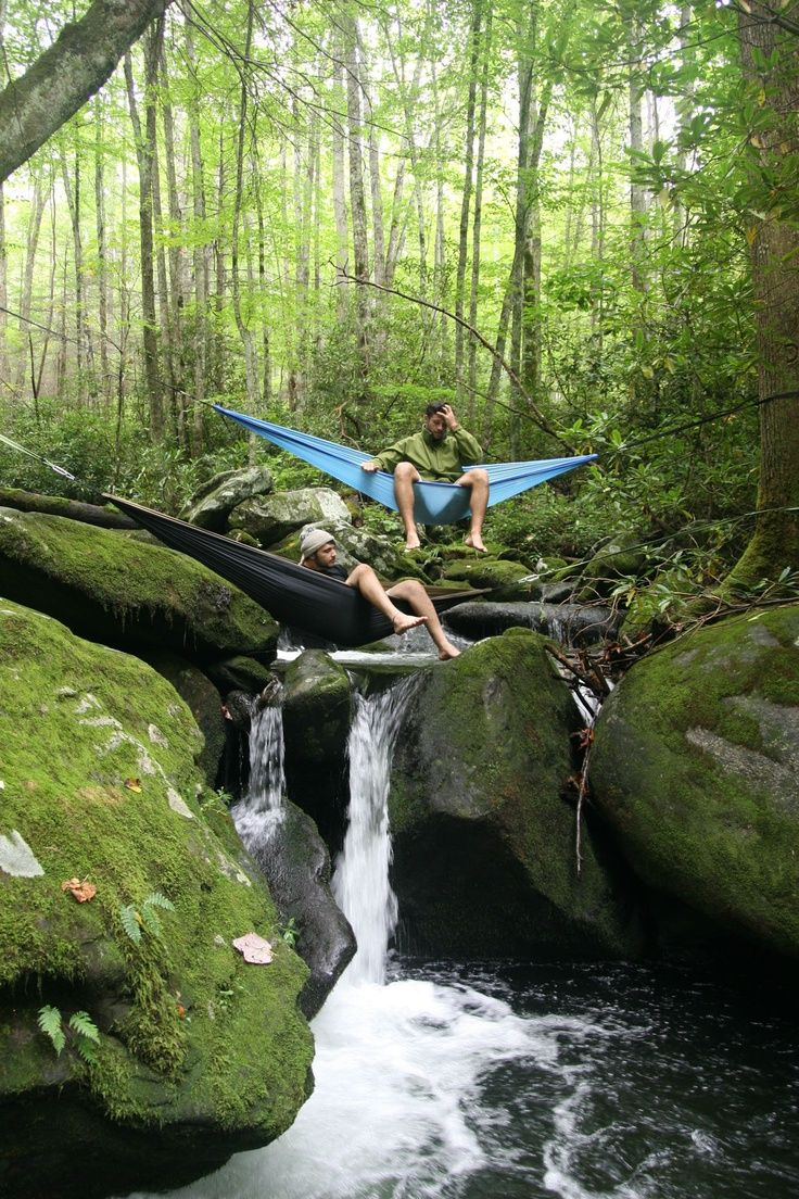 This will be me one day, in my eno, chilling like a cool camper person, over a creek like this.