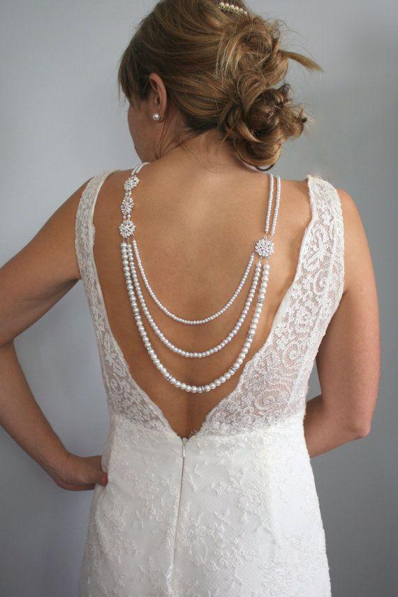 Pearl Necklace-Backdrop Necklace-Bridal Jewelry-Back Drop Necklace-Low Back Necklace-Wedding Necklace-Backwards Necklace-Dream Day Designs