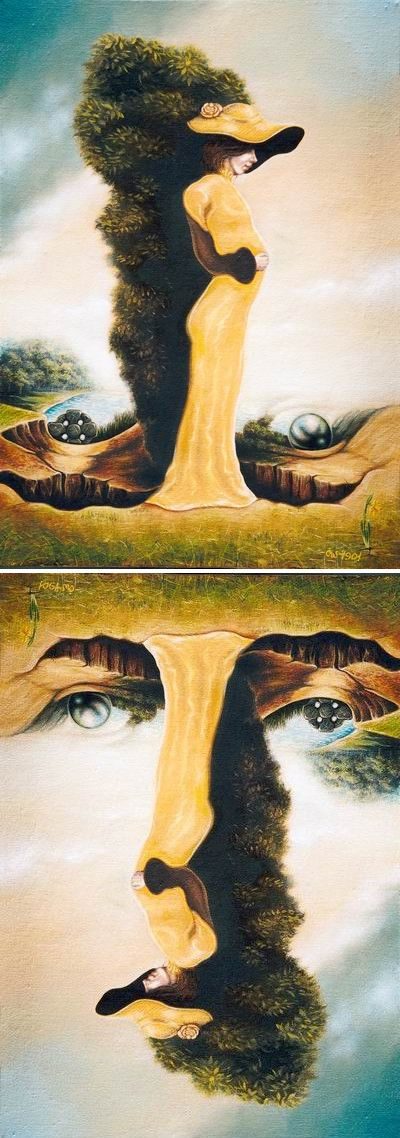 painting by Russian artist Igor Lysenko, depicts a woman in a yellow dress - A hidden face of a man can be found by rotating the image 180 degrees.