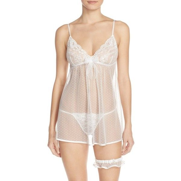 In Bloom by Jonquil 'Jennifer' Babydoll Chemise & Garter ($58) ❤ liked on Polyvore featuring intimates, white, lingerie chemise, sheer chemise, bride lingerie, white babydoll lingerie and transparent lingerie