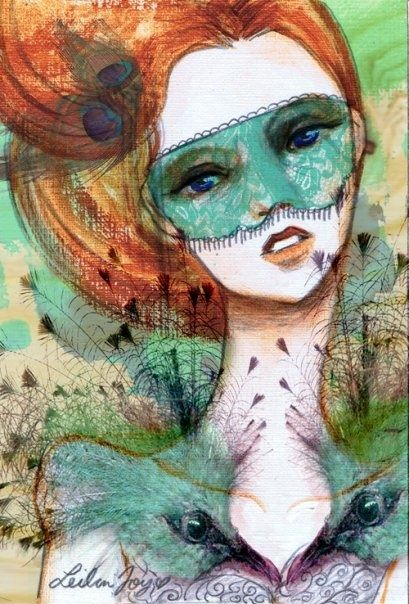 """Vanity Verde"" Acrylic and Photoshop. 2009. by Leilani Joy #fashion #illustration #mask #art #pretty #girl #peacock #bird #feathers #lowbrow #fantasy #redhead"