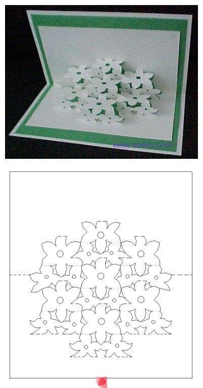 Flower pop up card template