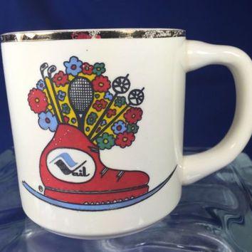 Vintage Vail Colorado Coffee Mug Cup Ski Resort Mid Century Modern White ~ USA