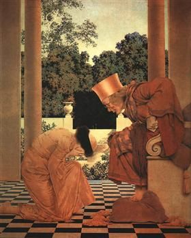 Lady Ursula Kneeling before Pompdebile (from The Knave of Hearts) - Maxfield Parrish