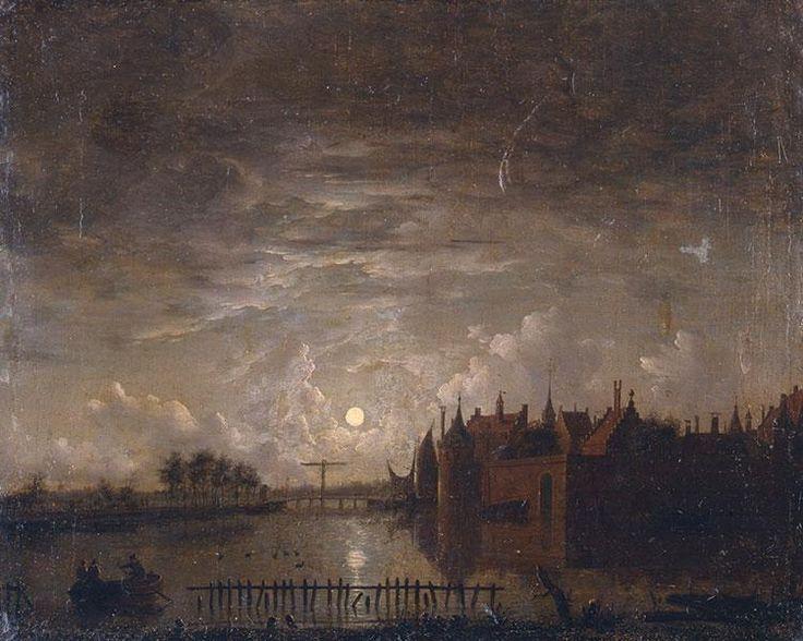 МЕЕРХУД Ян Лунный пейзаж с замком 39 х 48см. Инв. №24. Внизу справа остатки подписи: