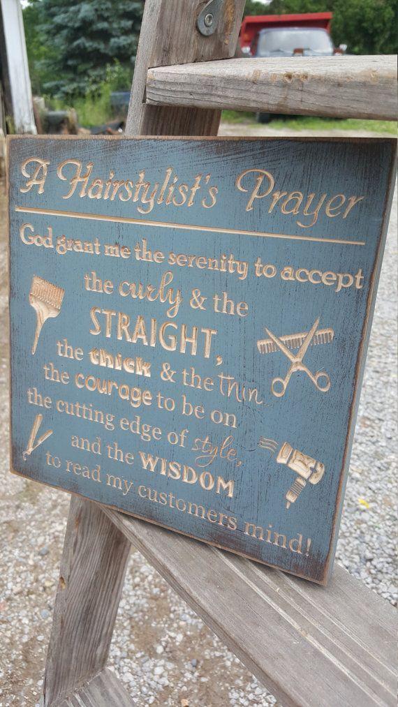 "cool Déco Salon - Custom Carved Wooden Sign - ""Hairdresser's Prayer"" Check more at https://listspirit.com/deco-salon-custom-carved-wooden-sign-hairdressers-prayer/"
