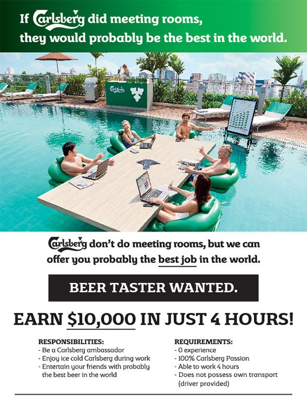 Best Job In The World? Carlsberg Will Pay You $10,000 To Taste Its Beer - DesignTAXI.com
