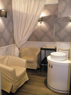 Spacious & Classy Nursing Room, A SINK is great for washing pump parts! #mypumpingspace #milkmakers #breastfeeding