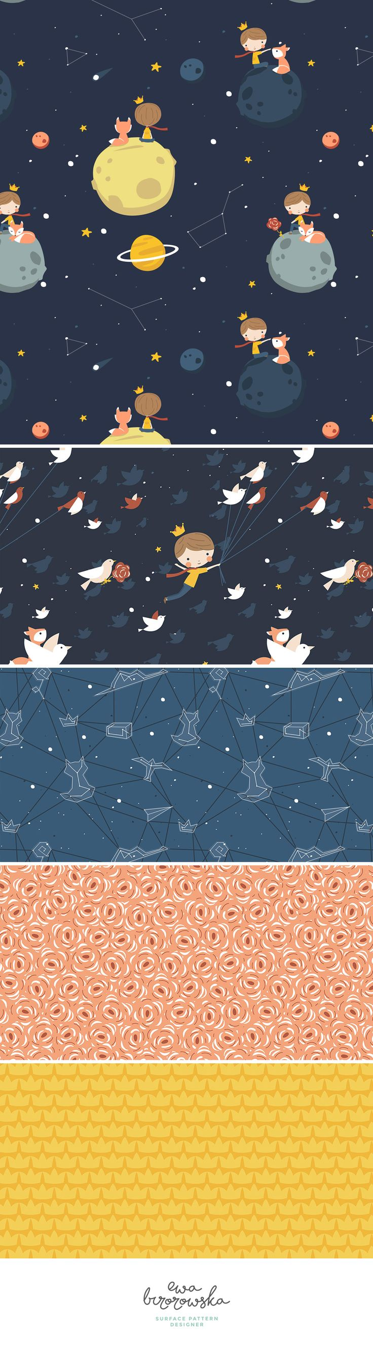 Petit Prince collection is inspired by and dedicated to my lovely little boy - my Petit Prince :) Space pattern design on navy background - perfect for children textile.