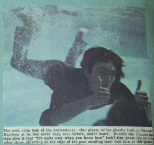 George Harrison under water during the filming of 'Help ...