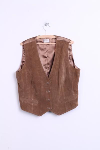 Roman Original Mens 20 XL Vest Bodywarmer Leather Brown - RetrospectClothes
