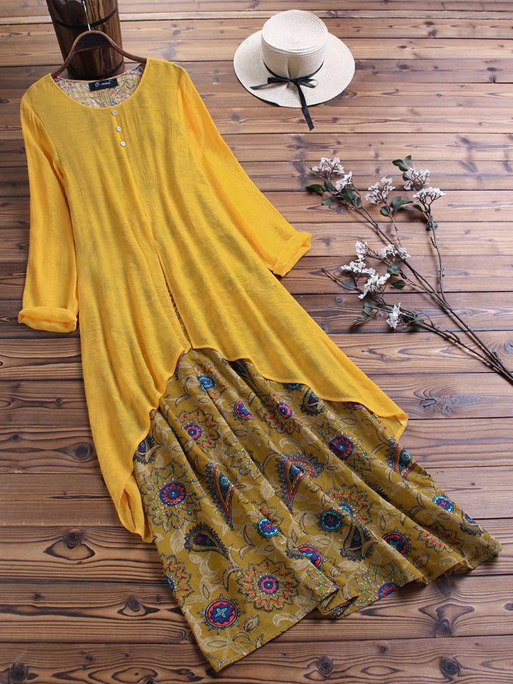 Fashion O-NEWE Vintage Print Patchwork Pocket Long Sleeve Plus Size Maxi Dress{ …