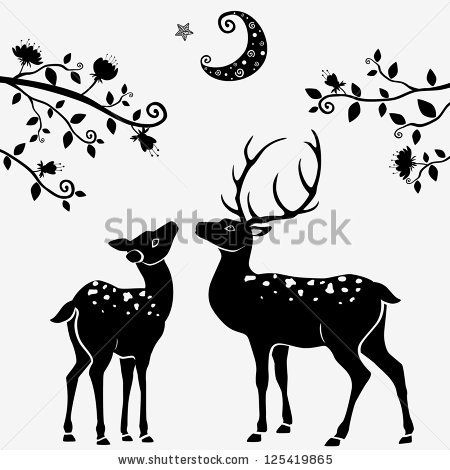 Silhouettes Of Black And White Illustration Of Two Deer