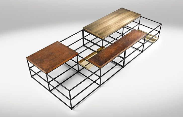 """Cages"" coffee table 03, 2013 Design Nucleo_Piergiorgio Robino + Gabriele Bagnoli polished and patinated bronze, iron 80x100x35H cm Exclusive for Nilufar G"