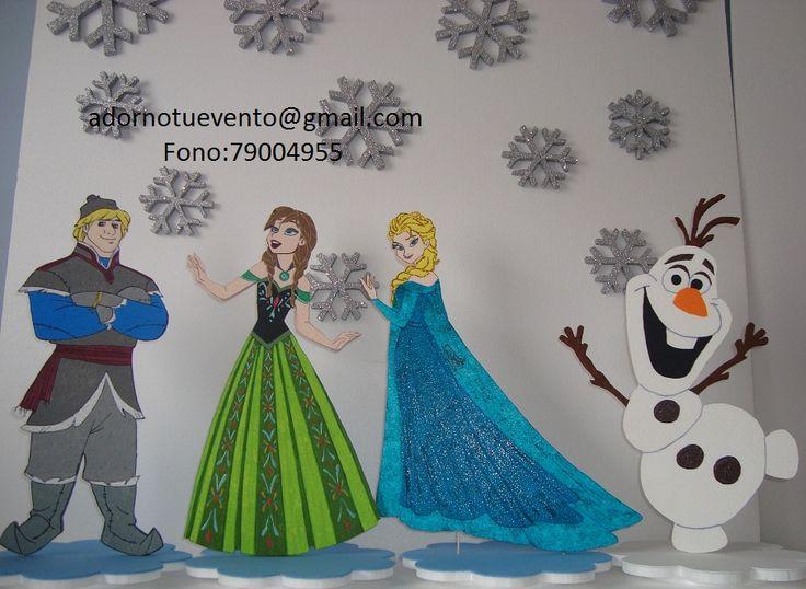 Personajes de Frozen en 60 cm, con base y pintados a mano.