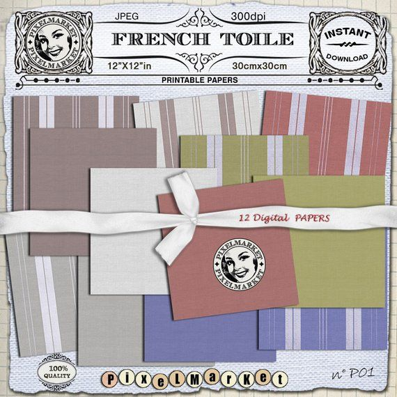 French Toile PAPERS Digital Fabric Texture Homespun Striped Ticking