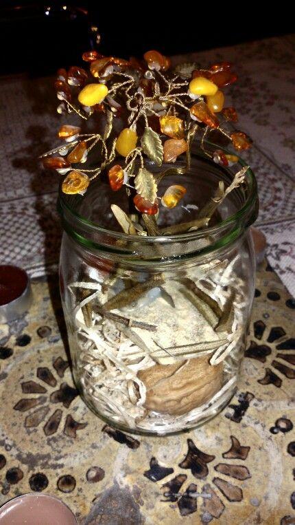 Centerpiece arrangiament glass riggiola majolica tealights arbre